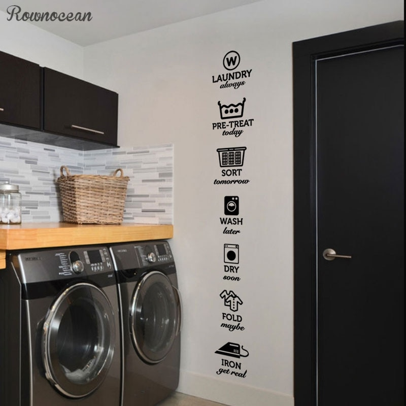 AliExpress - The rules of laundry decals, laundry tag stickers pattern,Wash Dry Fold Iron Laundry Room Vinyl Wall Quote Sticker Decal LY07