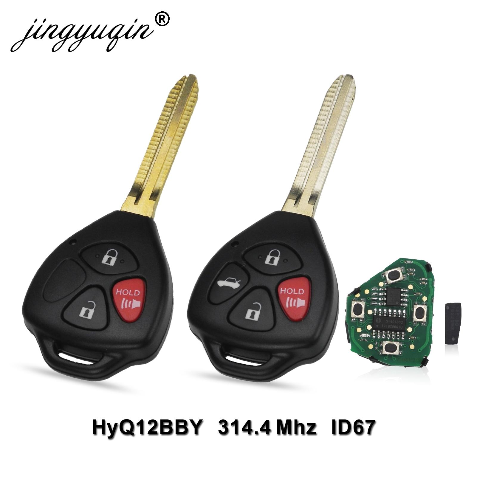 Jingyuqin HyQ12BBY 314,4 МГц ID67 3/4 кнопки дистанционного ключа автомобиля для Toyota Camry Avalon Corolla Matrix RAV4 Yaris Venza tC/xA/xB/xC