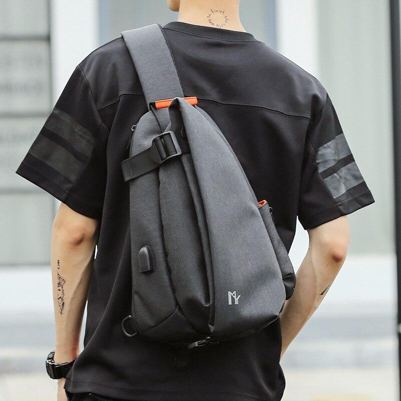 Multifunction Fashion Crossbody Bags For Men USB Charging Chest Pack Short Trip Messengers Bag Water Repellent Shoulder Bag