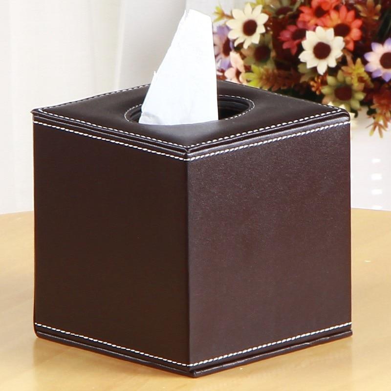 صندوق مناديل من الجلد الصناعي مربع الشكل حامل ورق منديل موزع مناديل تخزين علبة حاوية حاوية مكتب منظم Tissu