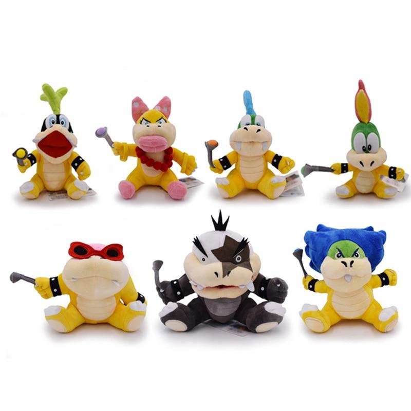 7 unids/lote de juguetes de peluche suaves para niños de Super Mario Bros, Wendy, Garry, Iggy, Ludwig, Roy Morton, Lemmy Bowser, Koopalings