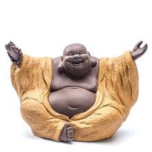 Bouddha en céramique Fine Sculpture Maitreya   Ornement de poterie, ventre en rire, bouddha ameublement de maison, artisanat créatif cadeau travail dart