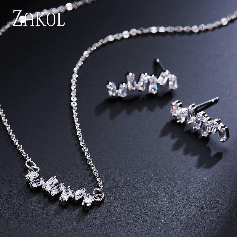 ZAKOL, recién llegado, conjuntos de joyería de estilo europeo, conjunto de pendientes rectangulares de racimo de circón cúbico para mujeres, FSSP2004