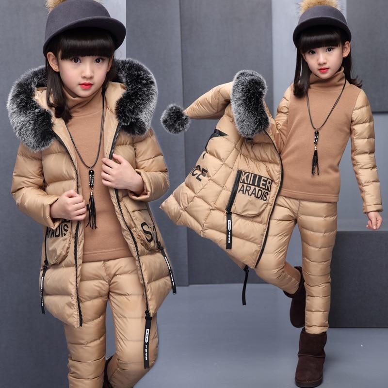 فتاة مجموعة ملابس لروسيا الشتاء مقنعين سترة سترة دافئة + سراويل قطنية علوية دافئة 3 قطع الملابس معطف القطن مع الفراء هود