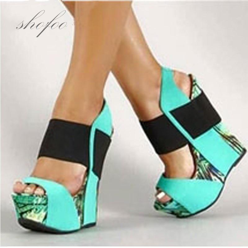 SHOFOO-صندل نسائي بكعب ويدج ، أحذية جلدية عصرية جميلة ، متعددة الألوان ، حوالي 15 سنتيمتر الحجم: 34-45