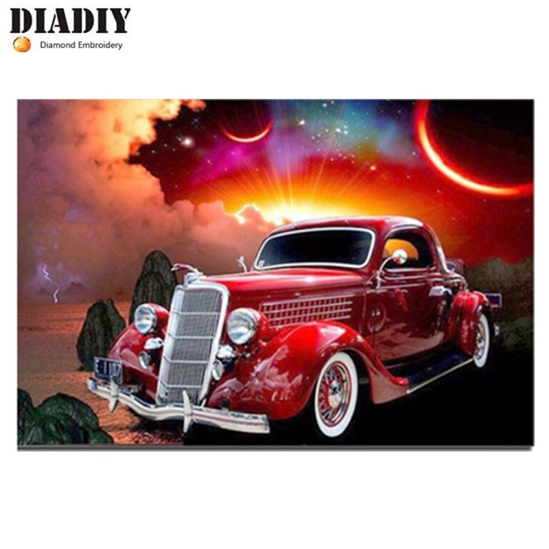 5D Diy diamante pintura Cruz Stitch coches clásicos diamante bordado dibujos animados coches rojo coche noche Luna costura hogar decorativo
