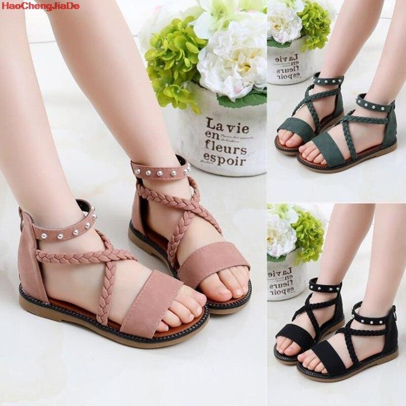 HaoChengJiaDe más vendidos de niños de moda de verano cremallera sandalias altas de cuero de las niñas fondo suave romano niños zapatos de princesa zapatos de playa