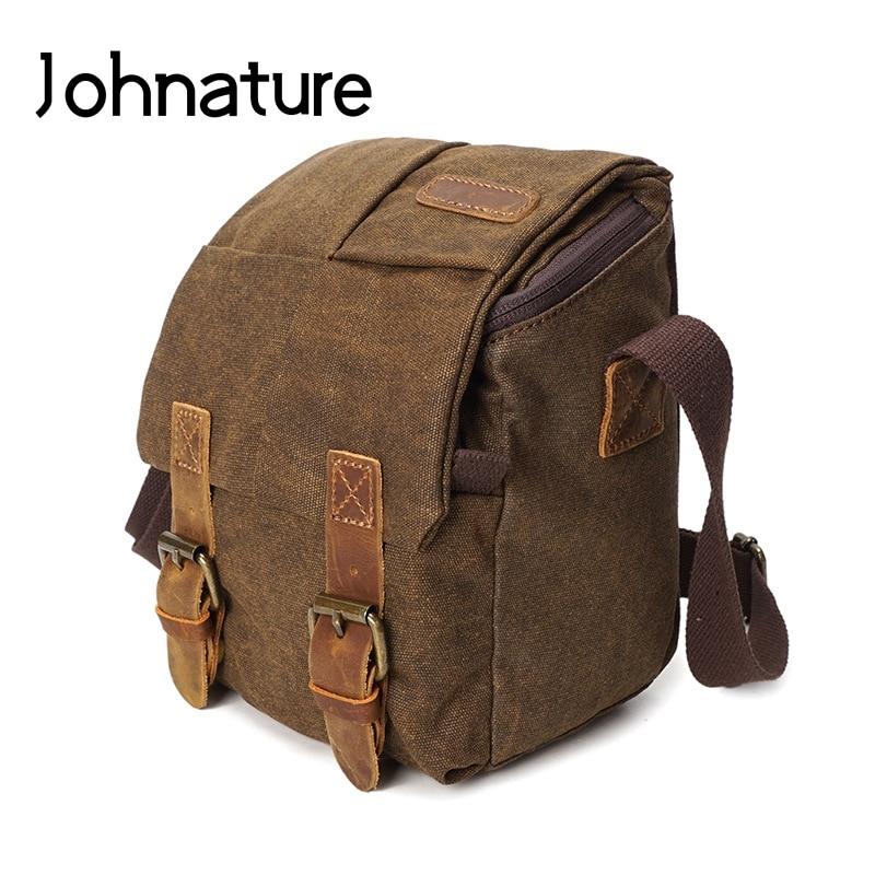 Johnature 2020, nuevo, Retro, informal, de lona bolsa de cámara Slr, resistente al agua, sólido, con cremallera y cerrojo, para hombre, hombro y bolsos cruzados, bolso de fotografía