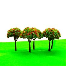 20 pièces 8cm hauteur modèle couleur arbres à fleurs Architecture Miniature Type différent plantes de jardin pour Diorama forêt scène faisant