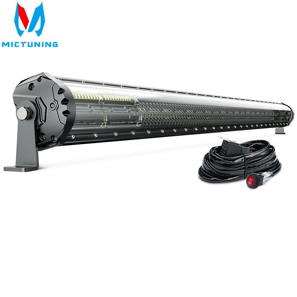 MICTUNING-قضبان إضاءة LED M2 ، 52 بوصة ، كومبو ، رباعي الصف ، للقيادة على الطرق الوعرة ، شريط إضاءة العمل ، تسخير الأسلاك لشاحنة J-eep ATV والقارب