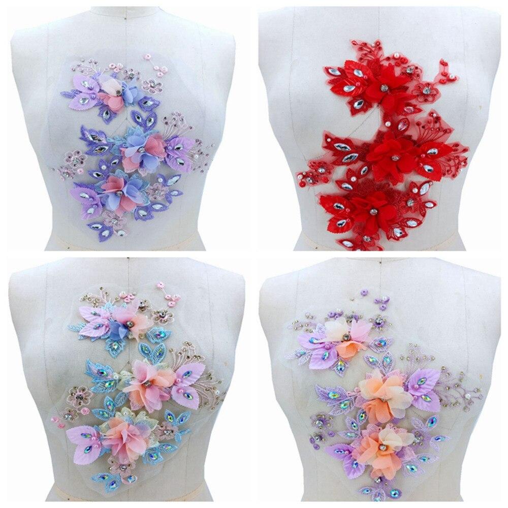 4 colores 3D flor tridimensional apliques de encaje con costura en diamantes de imitación parches de recorte multicolores para accesorio de vestido