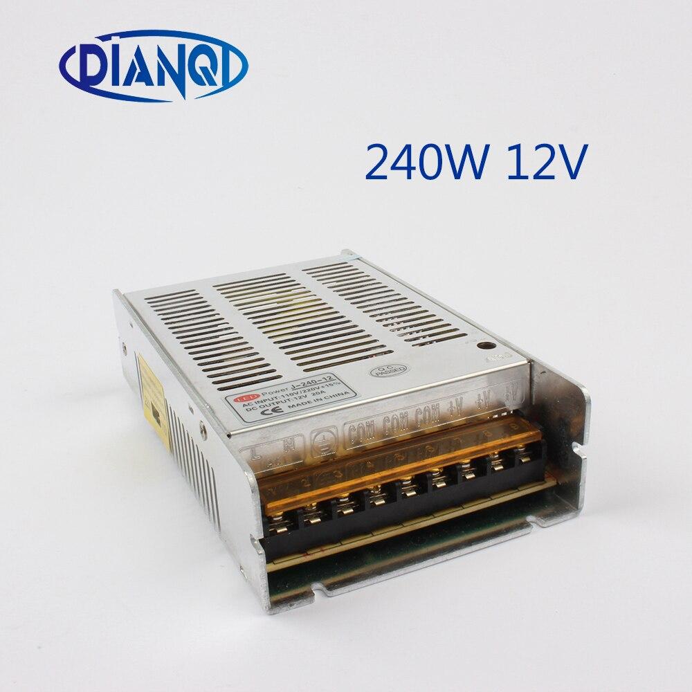 Controlador de fuente de alimentación conmutada 240W 12V 20A 240-12 tira de luz LED de plata Triple salida CA 110-220V entrada CA a cc 12V