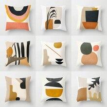 Housse de coussin géométrique nordique 18   Housse de coussin, style tropical, Art moderne, housse de coussin en Polyester, décoration de canapé Pi café