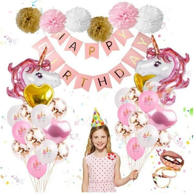 Globo bebé cumpleaños fiesta dibujos animados unicornio globo blanco polvo oro papel flor bola Decoración