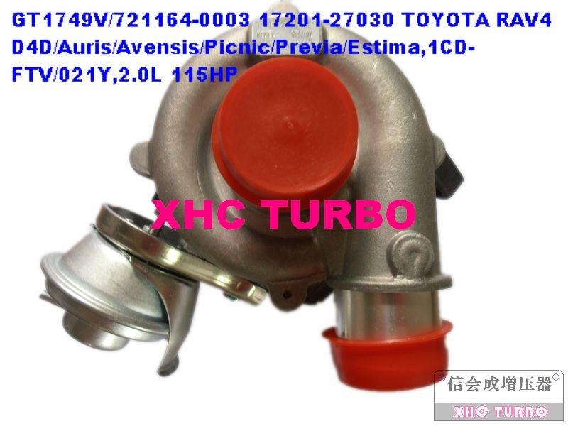 Nuevo turbocompresor GT1749V/721164 17201-27030 para TOYOTA RAV4 audis Avensis Picnic Previa, 1CD-FTV/021Y 2.0L 115HP 2001-