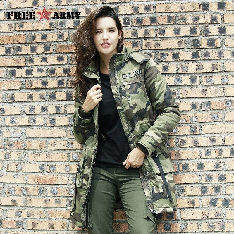 Camuflaje militar FreeArmy, chaquetas de Invierno para mujer, abrigo, ropa larga con capucha gruesa, cremallera cálida, Parka de mujer, abrigo, GS-8908
