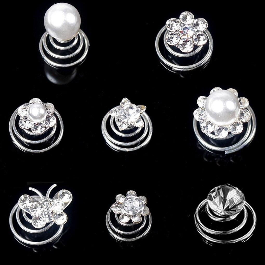 12 Uds. Pinzas para el pelo para mujer/novia de cristal en espiral, horquillas para el pelo con diamantes de imitación, accesorios para fiesta o boda