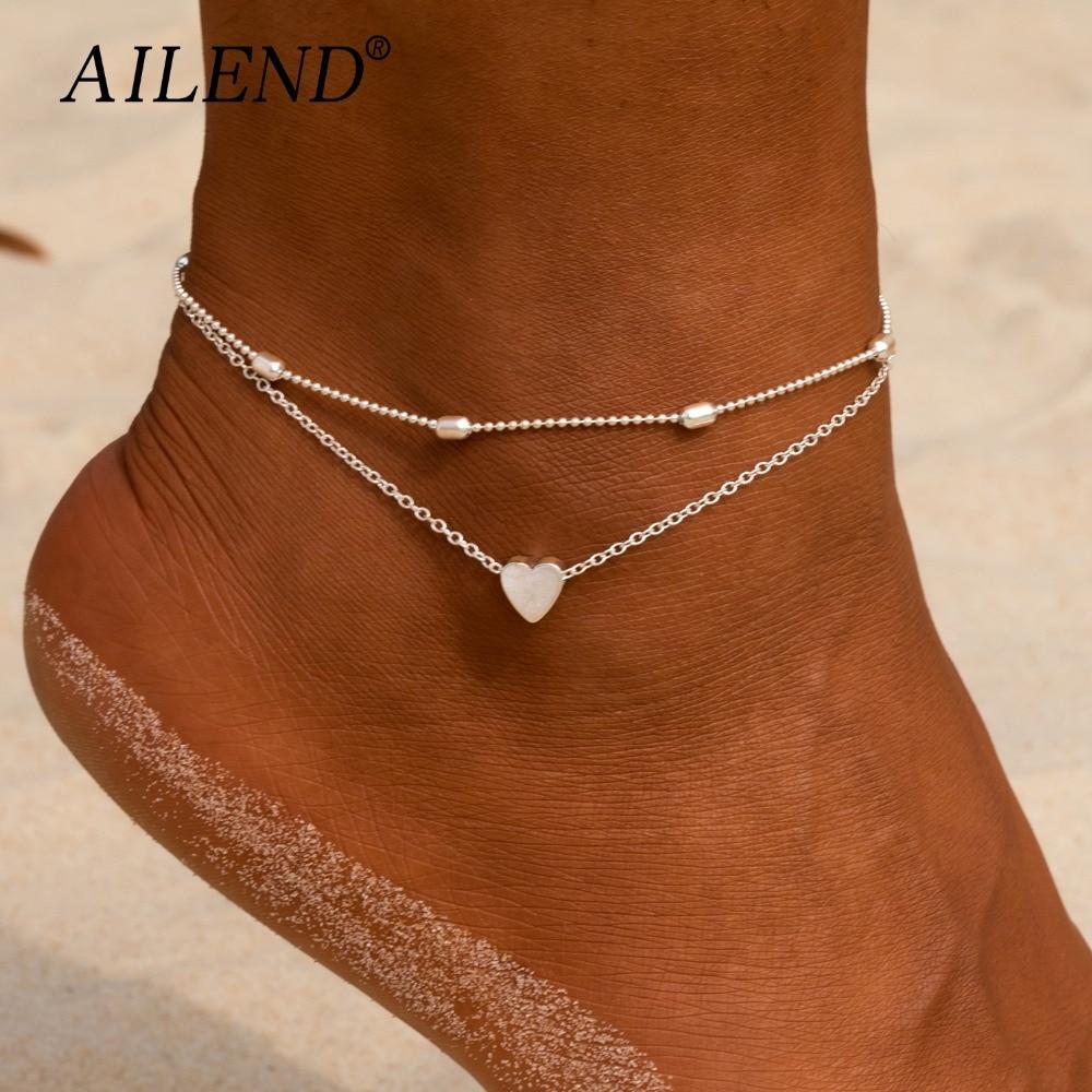Tobilleras con corazón para mujer, joyería de pies para sandalias de ganchillo descalzo, tobilleras nuevas para tobillo, tobilleras, pulseras para mujer, cadena para pierna