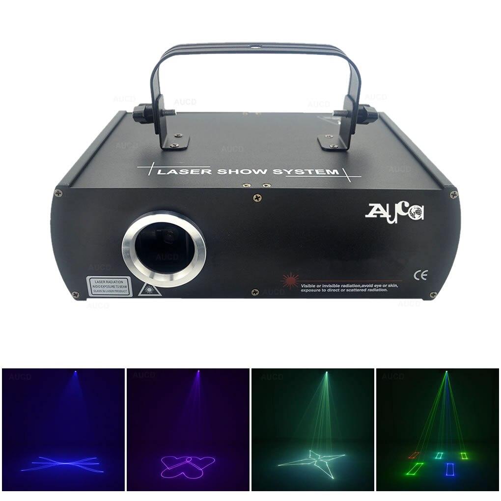 AUCD شعاع الرسوم المتحركة ماسحة 500mW RGB كامل لون ضوئي أضواء الليزر المهنية ديسكو DMX DJ حزب المرحلة إضاءة مشاهدة DJ5F