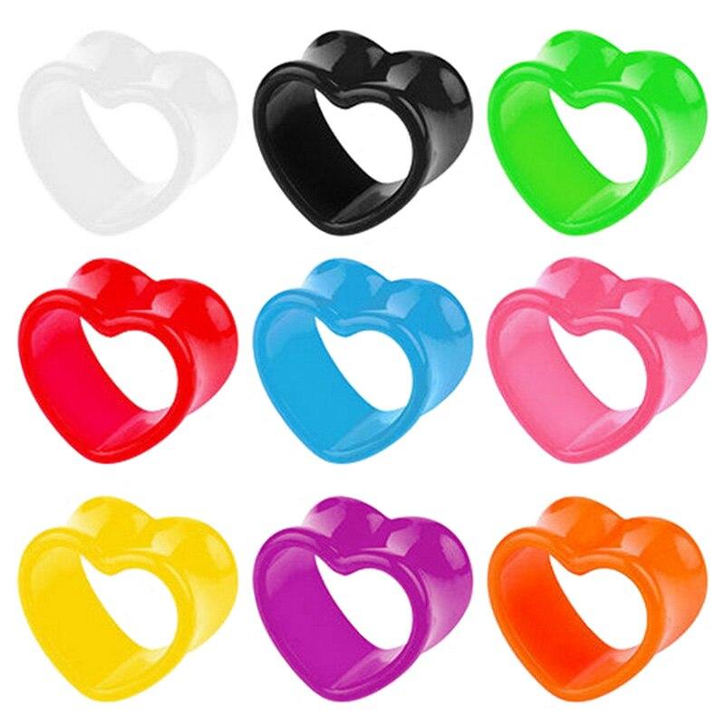 1 Pair Acrylic Ear Tunnels Heart-Shaped Hollow Ear Plugs Flesh Expander Gauges Plug Earlets Earring Body Piercing Tragus Jewelry