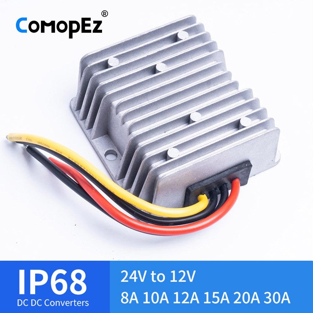 24 V a 12 V 8A 10A 12A 15A 20A 30A 120W paso abajo convertidor CC 24 voltios a 12 voltios regulador de voltaje de DC-DC para coches Solar
