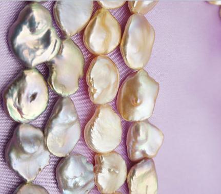 Joyería de perla de alto brillo, perla muy grande, cuentas hilos sueltos medias, joyería de perlas de agua dulce auténticas de Color rosa. 15-30mm 20 cm.