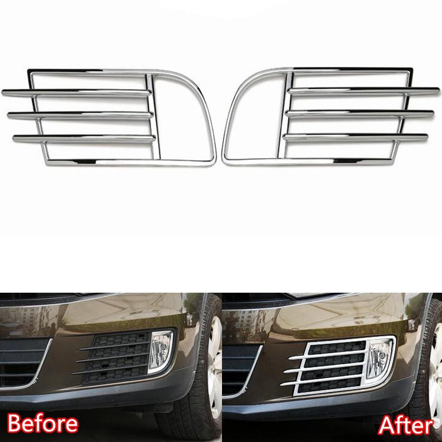YAQUICKA 2Pcs/set Chrome ABS Car Front Fog Light Lamp Frame Trim Bezel Styling Car-covers For Volkswagen Tiguan 2013 2014