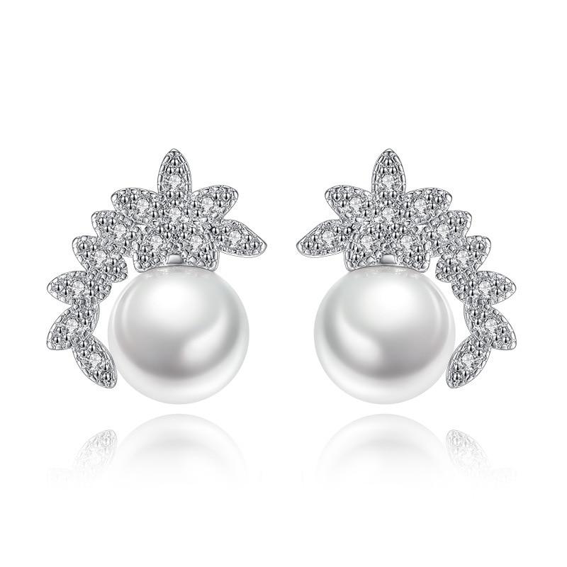 XIYANIKE, hebillas de colores plateados, pendientes de perlas simuladas con forma de flor, pendientes de zirconio blanco para mujer, joyería de tendencia VES6726