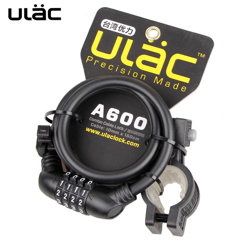 ULAC 4-Digital código de contraseña de bloqueo Anti-robo fuerte Cable para bicicleta rueda de cadena Multi función MTB bicicleta de carretera de bloqueo