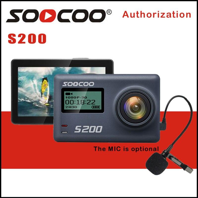 Soocoo s200 ação esporte câmera ultra hd 4 k 20mp ntk96660 chip cam imx078 sensor wifi gryo controle de voz mic gps toque lcd scree