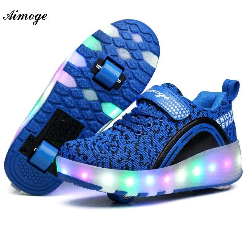 Sneakers with wheels tênis de led heelys skate shoes girls boys kids patines para niña roller sneakers buty led wrotki LED light