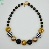 5pcs zebra chunky beaded necklace girls black and gold bubblegum beads choker fashion collar jewelry kids chunky beaded necklace