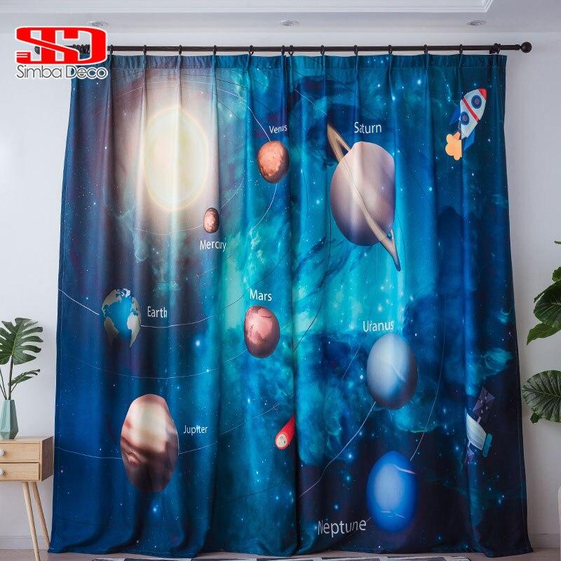 ستائر تعتيم ثلاثية الأبعاد مطبوعة على شكل كوكب ستار لغرفة المعيشة ستائر لطيفة لغرفة الأولاد لوحة علاج نافذة للأطفال علم الكون