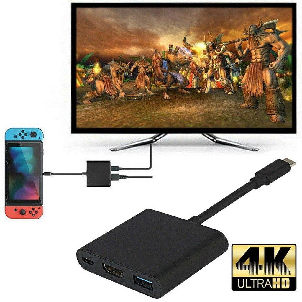 Convertidor 1080P 4K HDMI adaptador para interruptor tipo C USB a HDMI muelle convertidor Cable USB 3,1 tipo C Hub adaptador
