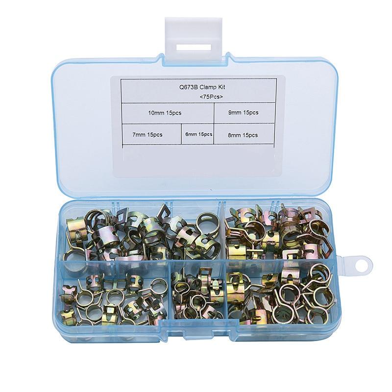 75 unids/set 6-10mm Q673B resorte de vacío aceite de combustible agua CPU manguera Clip tubo para banda abrazadera Metal Kit surtido de sujetadores