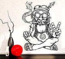 Fumo Weed Marijuana Pace Wall Stickers Smontabile Del Vinile Wall Sticker Hippie In Bicchieri Simbolo Etnico Decor Adesivo SA174