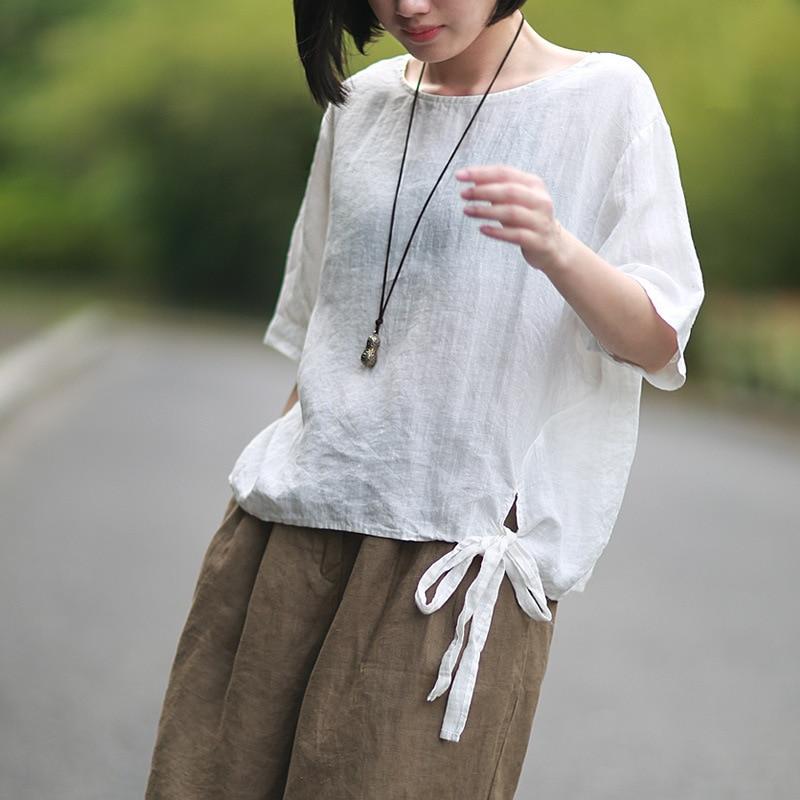 Johnature 2020 Summer New Women Cotton Linen T-Shirt O-Neck Vintage Short Sleeve Tops Japan Style Brief Bow Women T-Shirts
