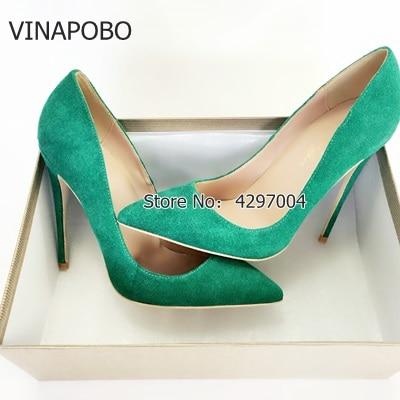 VINAPOBO, zapatos de tacón de ante verde para mujer, zapatos de tacón de punta estrecha sexis, zapatos de fiesta de moda, zapatos de tacón para mujer, zapatos de boda, primavera 2018