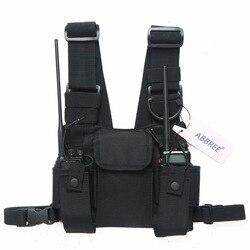 Abbree arnês de rádio peito frente pacote bolsa coldre carry bag para baofeng UV-5R UV-82 UV-9R BF-888S tyt motorola walkie talkie