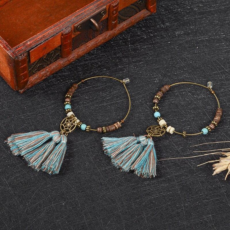 Bohemian Dreamcatcher Round Beads and Tassel Charm Dangle earrings Boho Jewelry Vintage Ethnic Ear Jewelry Women Female
