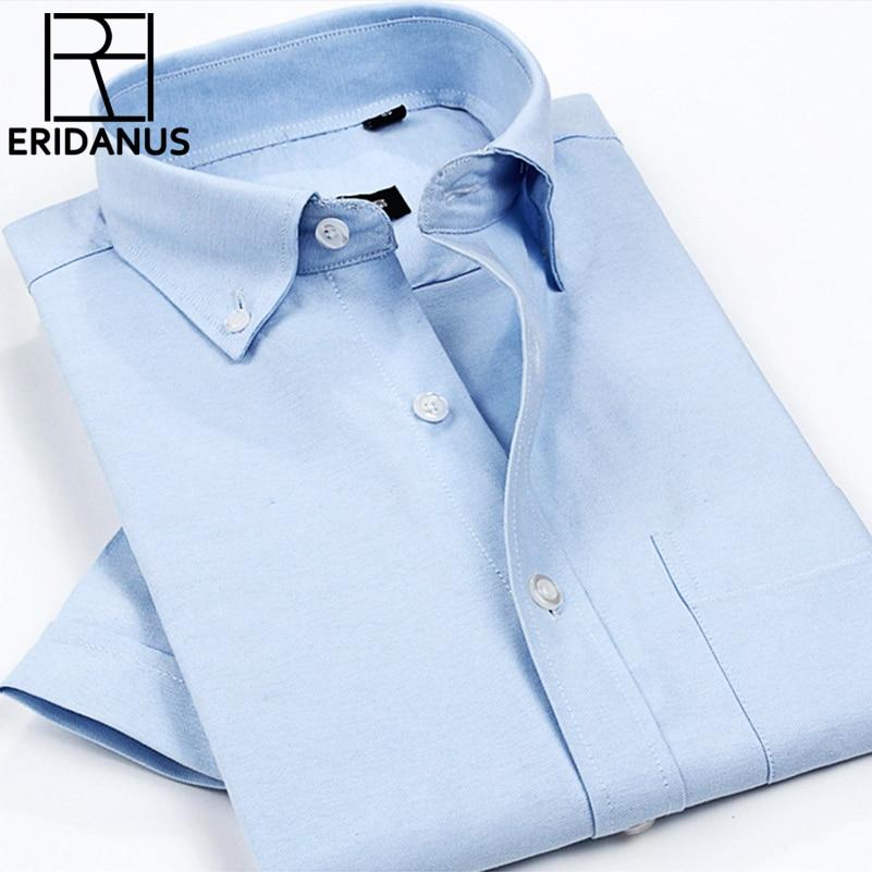 2017 New Fashion Casual Men Shirt Summer Short Sleeve Trend Slim Fit Men Solid Color High Quality Mens Dress Shirts M566