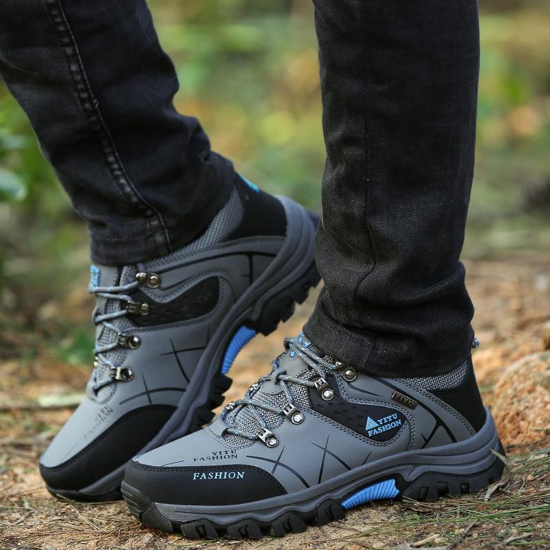 Купить с кэшбэком Classics Style Men Hiking Shoes Plus Size Waterproof Professional Men Sport Shoes Outdoor Jogging Trekking Sneakers Footwear