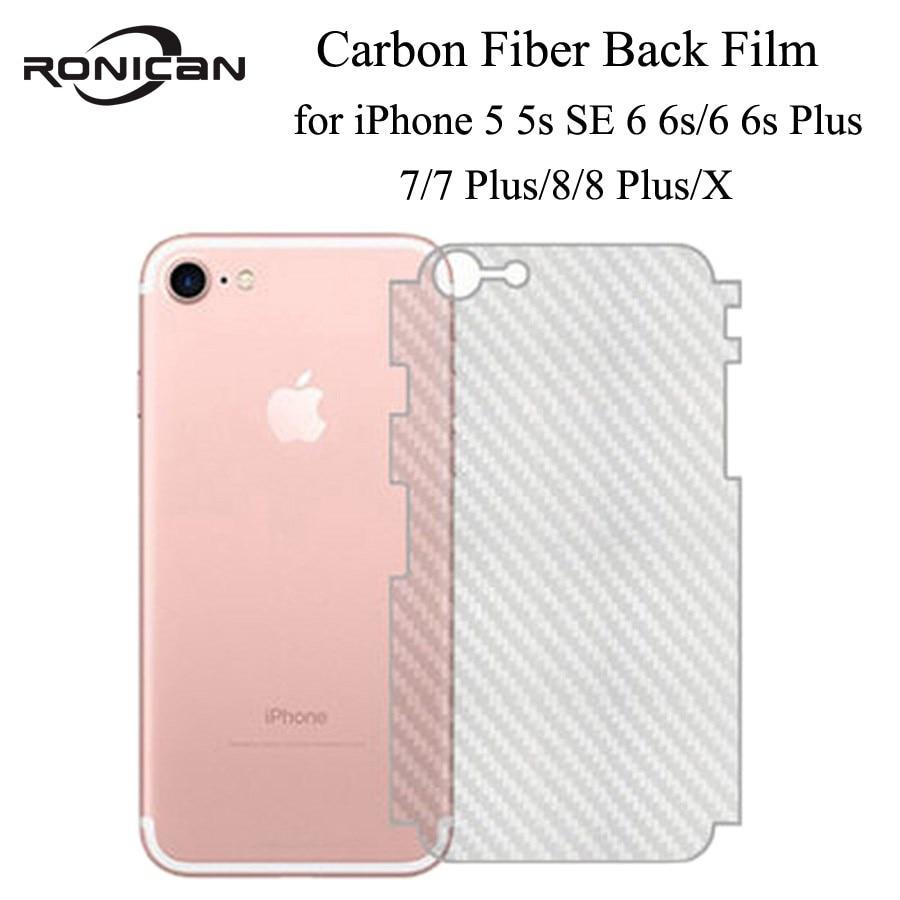 5Pcs on iPhone 5 5s SE 6 6s 7 8 Plus Full Cover 3D Anti-fingerprint Carbon Fiber Back Screen Protector Film For iPhone XR XS MAX