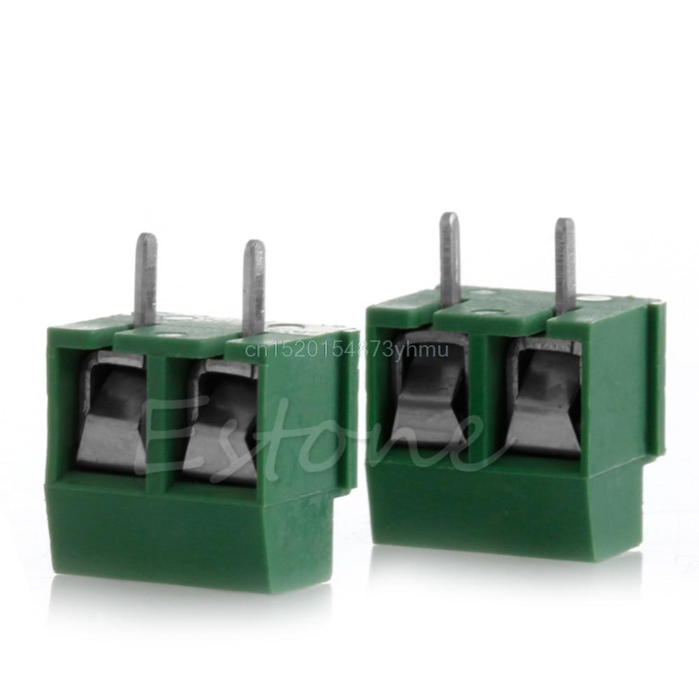 2 uds 300V 10A 2P macho PCB tornillo conector de bloque de terminales 3,5mm paso verde # L057 # nuevo caliente