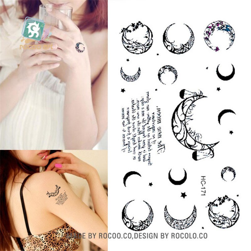 Body Art Sex Products waterproof temporary tattoos paper for men women simple black moon design flash tattoo sticker HC1171