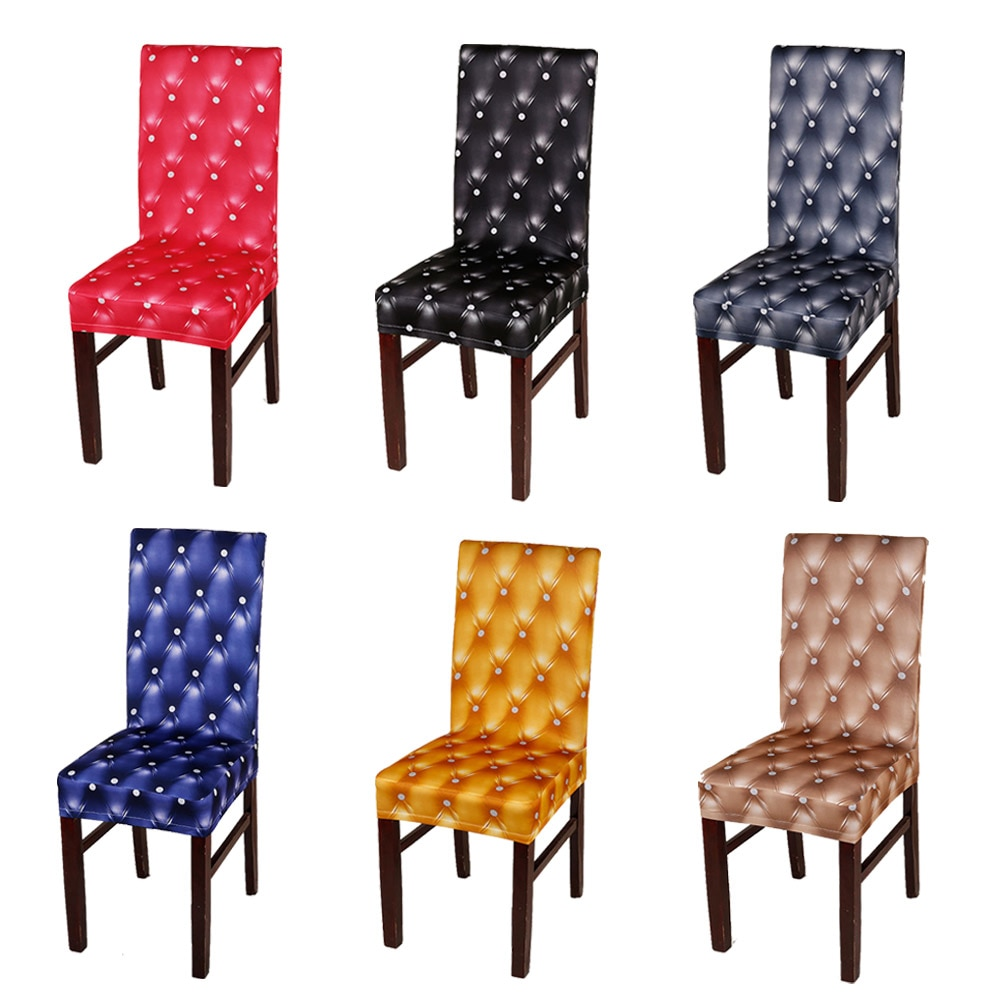 Sillín elástico de PU de 6 uds., funda de asiento de Spandex para el hogar, comedor, negro/gris/Café en 7 colores