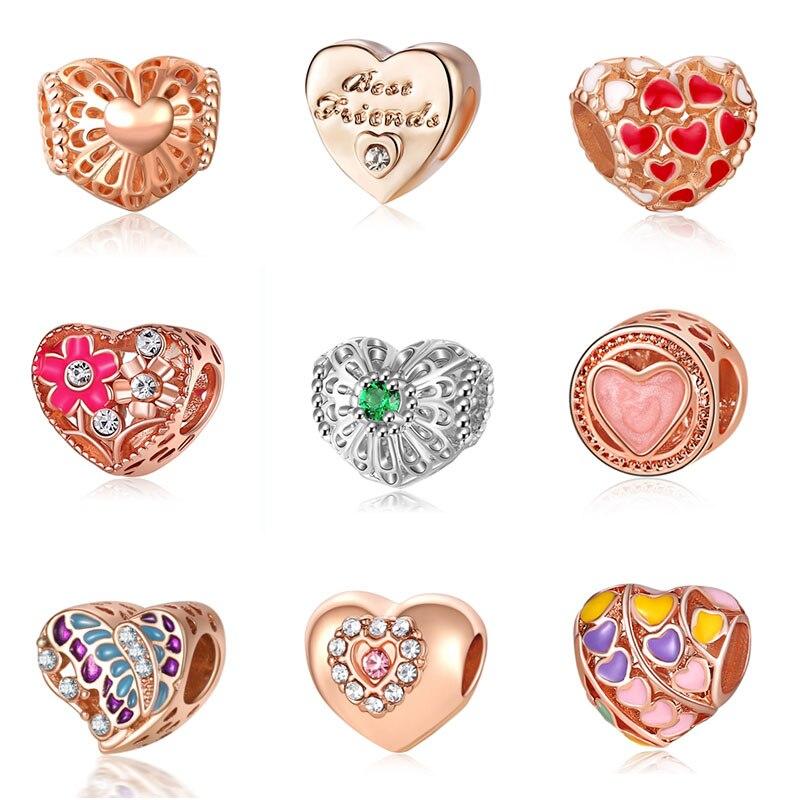 Abalorios de corazón de oro de Pandora, joyería Bijoux Bracciale Bisuteria, abalorios franceses, Perfumes para Mujer, pulseras Originales, dijes