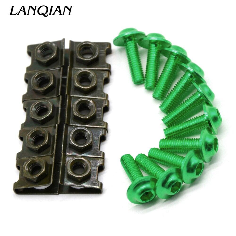 10 peças 6mm moto screwse corpo carenagem para yamaha ybr 125 yzf r1 r3 r6 r125 r25 ttr rsz cbr600 yzf600 mt 03 25