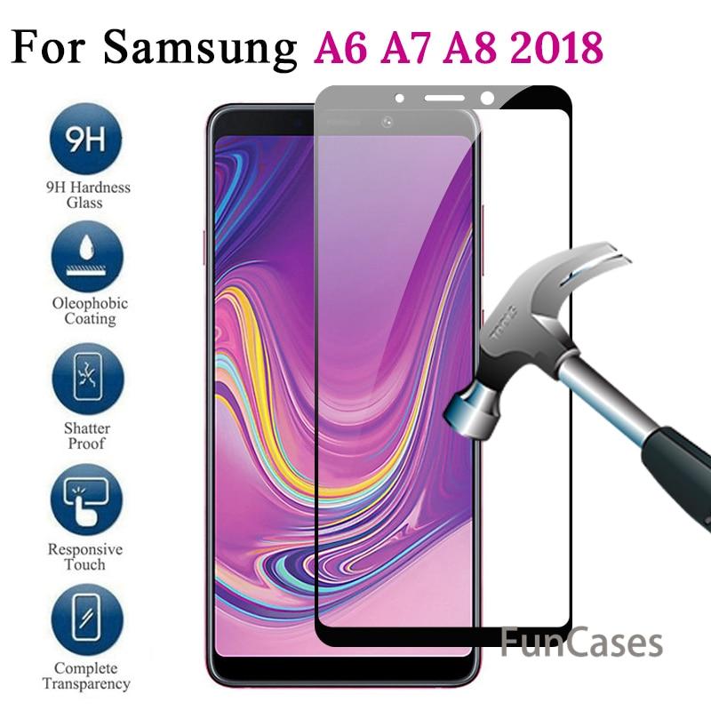 Vidrio protector para Samsung Galaxy A7 2018 funda de vidrio templado para Samsung A7 2018 A6 A8 Plus A730 A 7 A750 7A 6A película