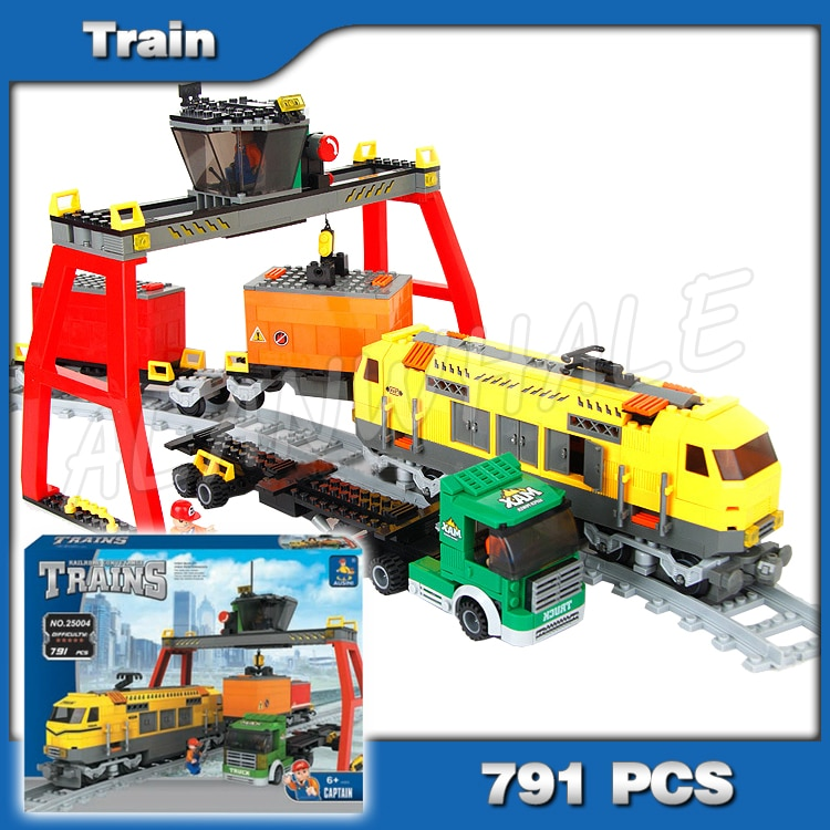 791pcs Criador Clássica Estação de Trens de Carga Linha Férrea Caminhão Modelo 25004 Blocos de Construção de Tijolos Brinquedos Compatíveis com Lego